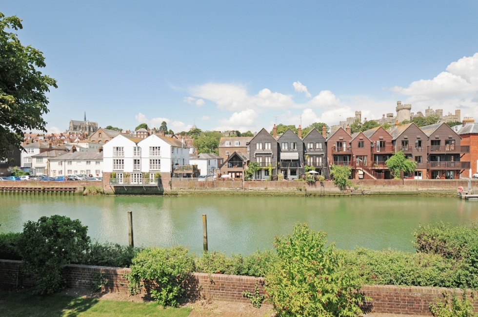 View from Riverside House of Arundel with the castle and Cathedral
